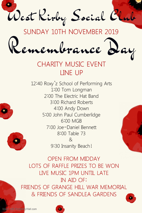 Remembrance Sunday – Charity Music Event